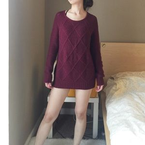 American Eagle Outfitters Maroon Long Sweater.-T2.